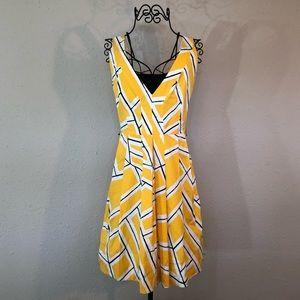 DvF Yellow, Black, and White Geometric Dress, 12